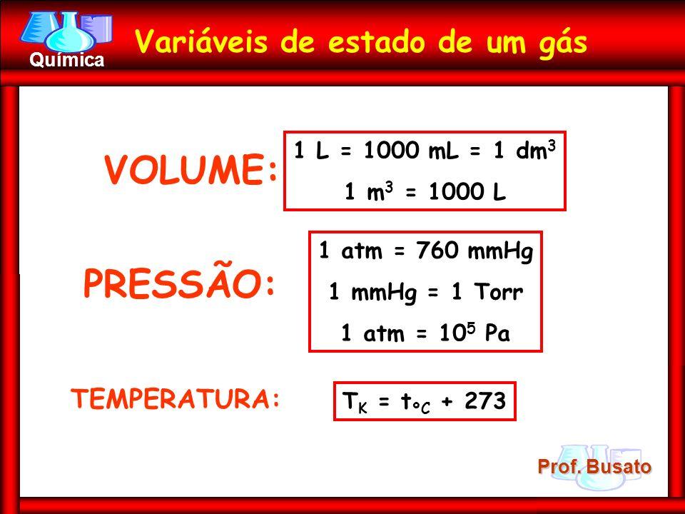 Prof. Busato Química Variáveis de estado de um gás VOLUME: 1 L = 1000 mL = 1 dm 3 1 m 3 = 1000 L PRESSÃO: TEMPERATURA: 1 atm = 760 mmHg 1 mmHg = 1 Tor
