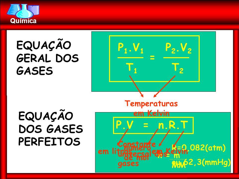 Prof. Busato Química EQUAÇÃO GERAL DOS GASES P 1.V 1 P 2.V 2 T1T1 T2T2 = Temperaturas em Kelvin EQUAÇÃO DOS GASES PERFEITOS P.V = n.R.T em litros núme