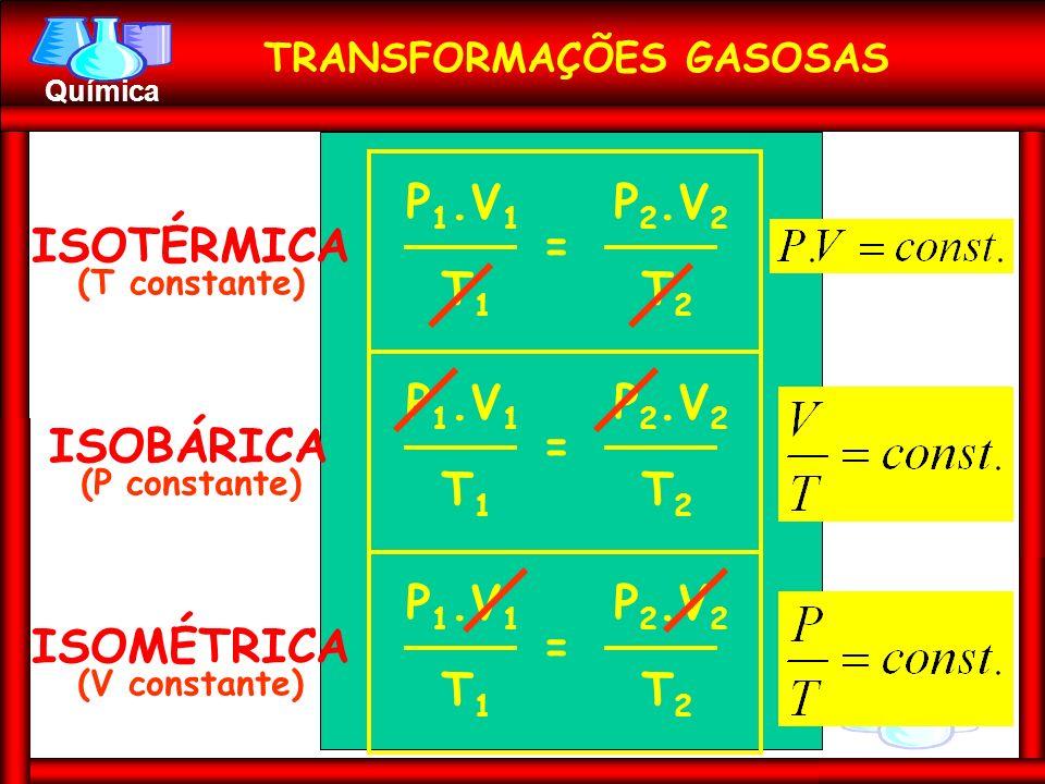 Prof. Busato Química ISOTÉRMICA (T constante) P 1.V 1 P 2.V 2 T1T1 T2T2 = ISOBÁRICA (P constante) P 1.V 1 P 2.V 2 T1T1 T2T2 = ISOMÉTRICA (V constante)