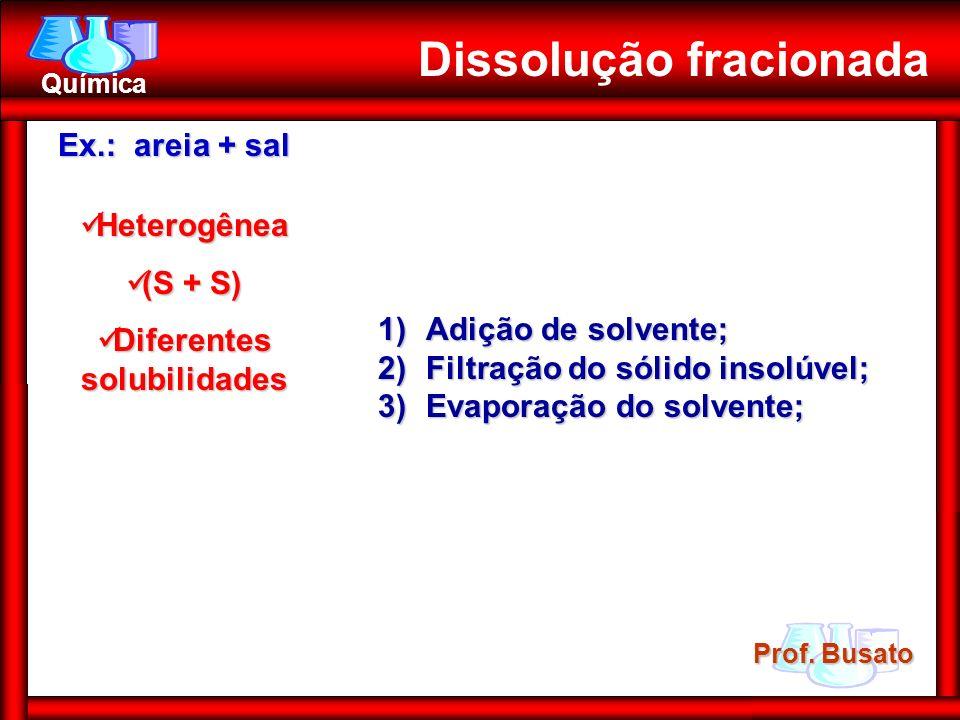 Prof. Busato Química Heterogênea Heterogênea (S + S) (S + S) Diferentes solubilidades Diferentes solubilidades Dissolução fracionada 1)Adição de solve