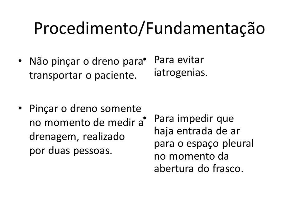 Procedimento/Fundamentação Não pinçar o dreno para transportar o paciente. Pinçar o dreno somente no momento de medir a drenagem, realizado por duas p