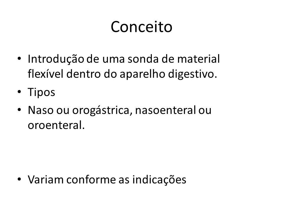 Conceito Introdução de uma sonda de material flexível dentro do aparelho digestivo. Tipos Naso ou orogástrica, nasoenteral ou oroenteral. Variam confo