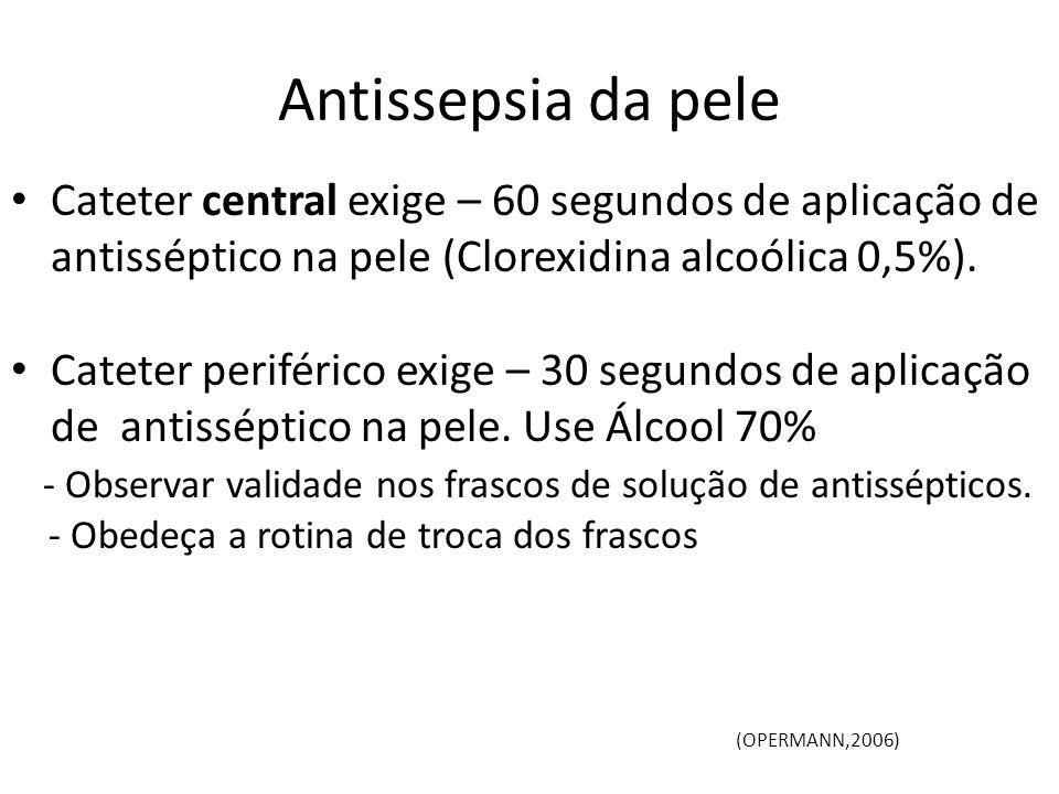 Antissepsia da pele Cateter central exige – 60 segundos de aplicação de antisséptico na pele (Clorexidina alcoólica 0,5%). Cateter periférico exige –