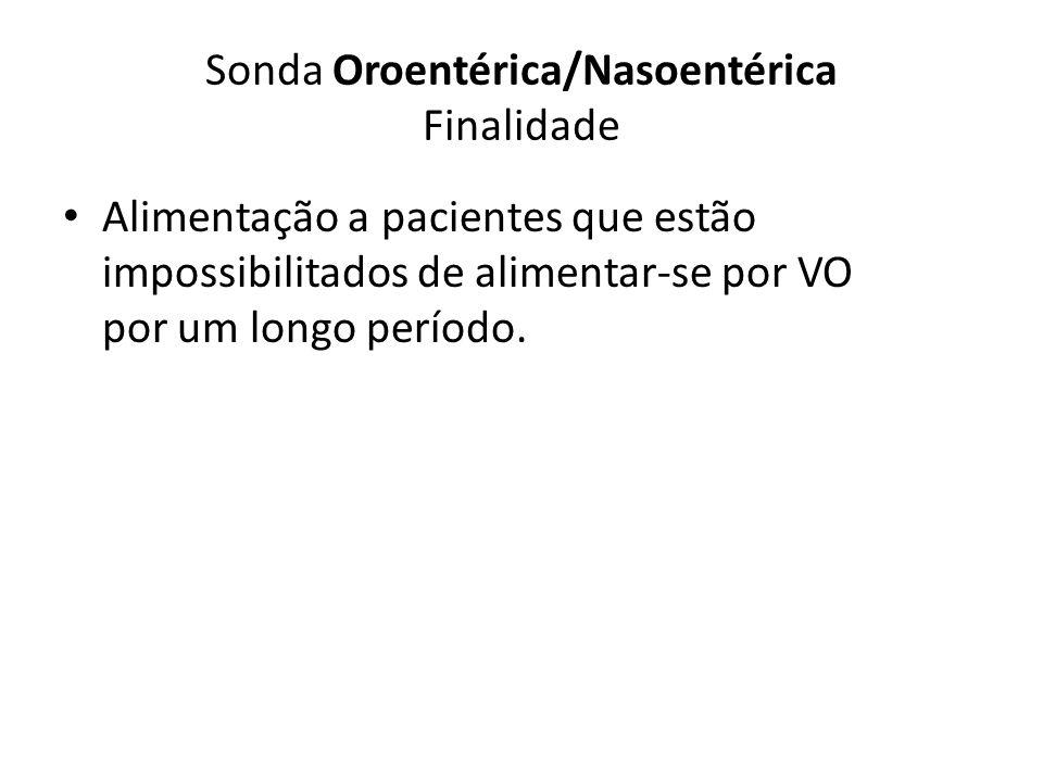 Sonda Oroentérica/Nasoentérica Finalidade Alimentação a pacientes que estão impossibilitados de alimentar-se por VO por um longo período.