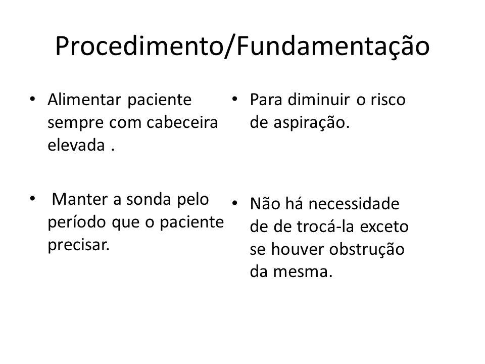 Procedimento/Fundamentação Alimentar paciente sempre com cabeceira elevada. Manter a sonda pelo período que o paciente precisar. Para diminuir o risco