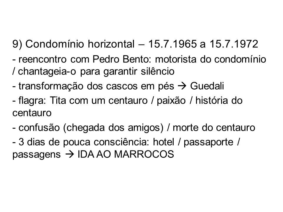 9) Condomínio horizontal – 15.7.1965 a 15.7.1972 - reencontro com Pedro Bento: motorista do condomínio / chantageia-o para garantir silêncio - transfo