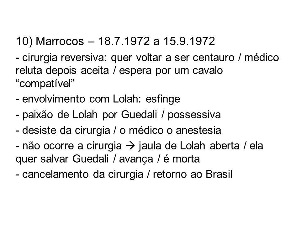 10) Marrocos – 18.7.1972 a 15.9.1972 - cirurgia reversiva: quer voltar a ser centauro / médico reluta depois aceita / espera por um cavalo compatível