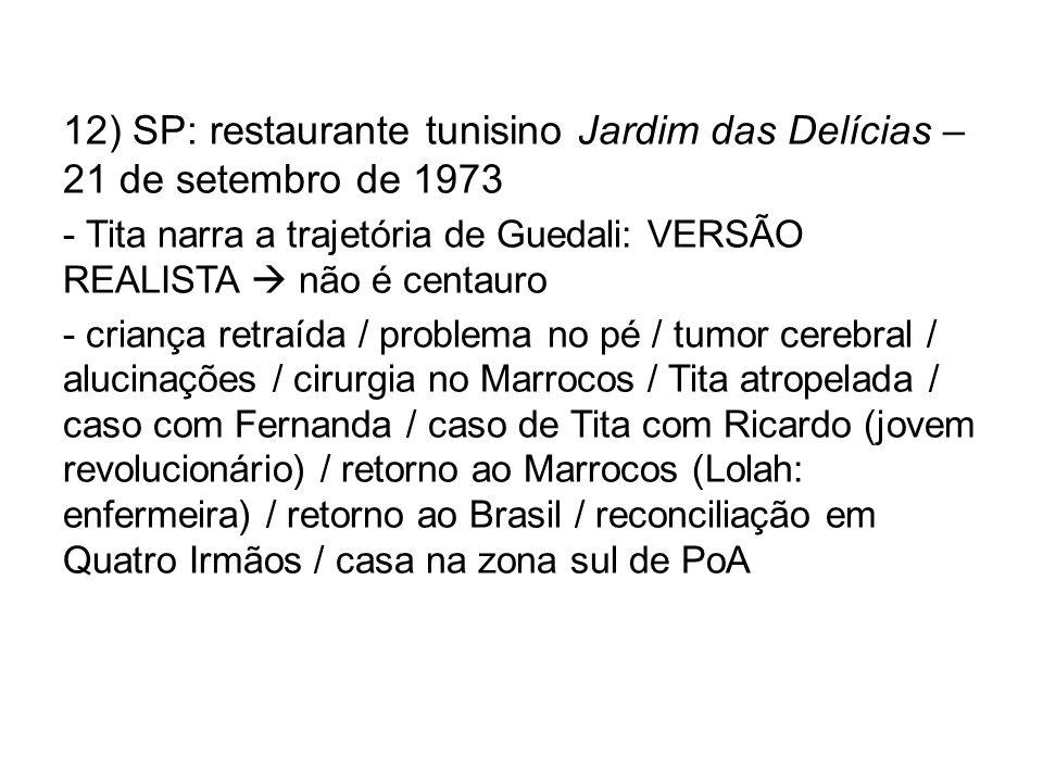 12) SP: restaurante tunisino Jardim das Delícias – 21 de setembro de 1973 - Tita narra a trajetória de Guedali: VERSÃO REALISTA não é centauro - crian