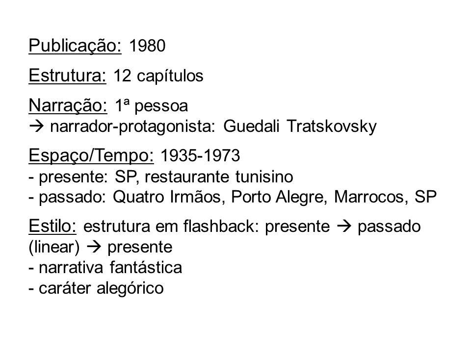 Publicação: 1980 Estrutura: 12 capítulos Narração: 1ª pessoa narrador-protagonista: Guedali Tratskovsky Espaço/Tempo: 1935-1973 - presente: SP, restau