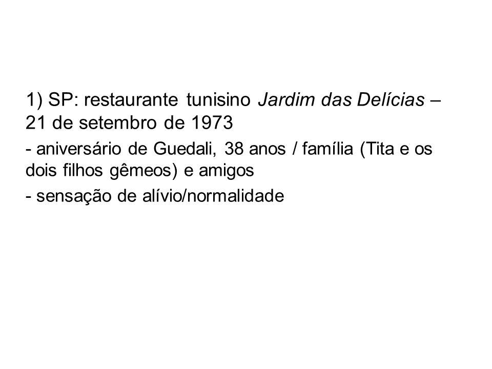 1) SP: restaurante tunisino Jardim das Delícias – 21 de setembro de 1973 - aniversário de Guedali, 38 anos / família (Tita e os dois filhos gêmeos) e