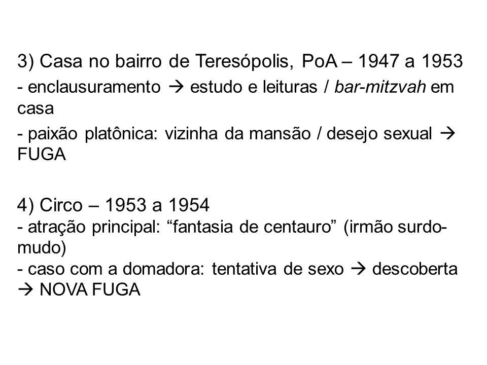 3) Casa no bairro de Teresópolis, PoA – 1947 a 1953 - enclausuramento estudo e leituras / bar-mitzvah em casa - paixão platônica: vizinha da mansão /