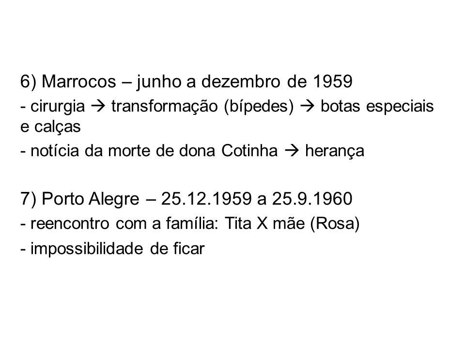 6) Marrocos – junho a dezembro de 1959 - cirurgia transformação (bípedes) botas especiais e calças - notícia da morte de dona Cotinha herança 7) Porto