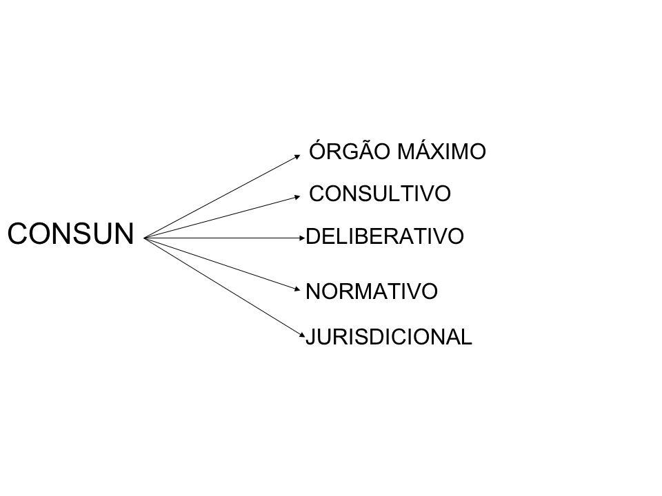 ÓRGÃO MÁXIMO CONSULTIVO CONSUN DELIBERATIVO NORMATIVO JURISDICIONAL