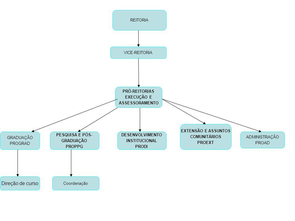 REITORIA VICE-REITORIA EXTENSÃO E ASSUNTOS COMUNITÁRIOS PROEXT PRÓ-REITORIAS EXECUÇÃO E ASSESSORAMENTO GRADUAÇÃO PROGRAD PESQUISA E PÓS- GRADUAÇÃO PROPPG ADMINISTRAÇÃO PROAD DESENVOLVIMENTO INSTITUCIONAL PRODI Direção de curso Coordenação
