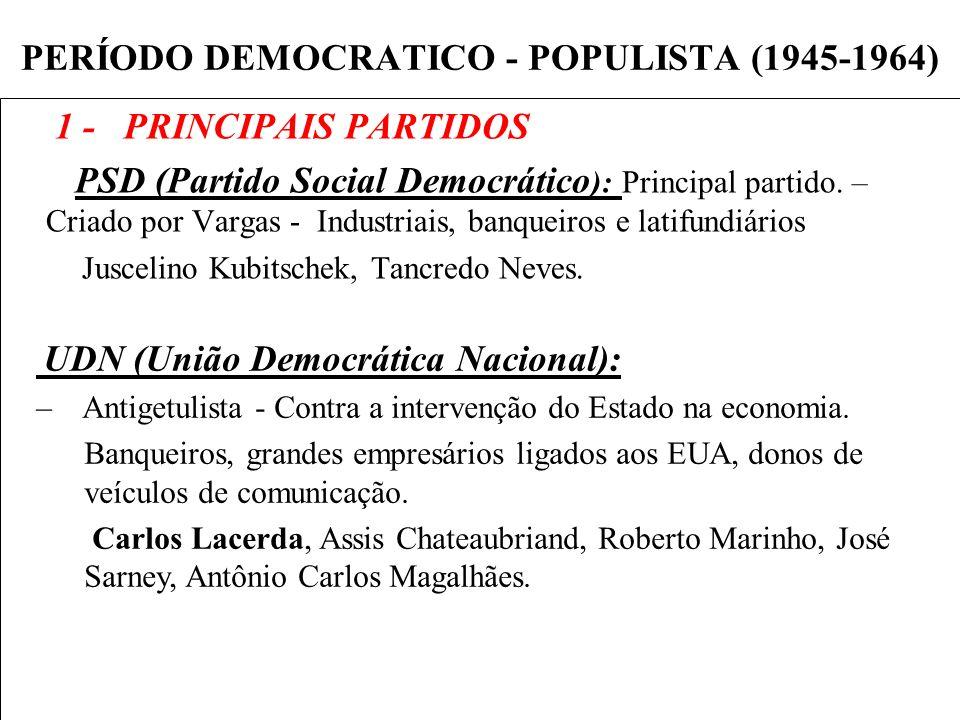 PERÍODO DEMOCRATICO - POPULISTA (1945-1964) 1 - PRINCIPAIS PARTIDOS PSD (Partido Social Democrático ): Principal partido. – Criado por Vargas - Indust