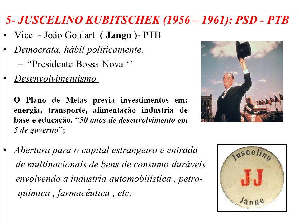 5- JUSCELINO KUBITSCHEK (1956 – 1961): PSD - PTB Vice - João Goulart ( Jango )- PTB Democrata, hábil politicamente. –Presidente Bossa Nova Desenvolvim