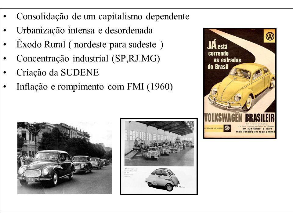Consolidação de um capitalismo dependente Urbanização intensa e desordenada Êxodo Rural ( nordeste para sudeste ) Concentração industrial (SP,RJ.MG) C