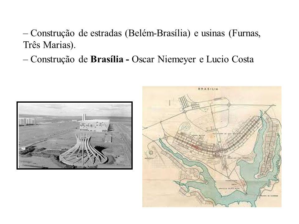 – Construção de estradas (Belém-Brasília) e usinas (Furnas, Três Marias). – Construção de Brasília - Oscar Niemeyer e Lucio Costa