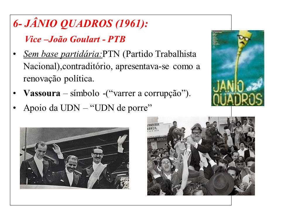 6- JÂNIO QUADROS (1961): Vice –João Goulart - PTB Sem base partidária:PTN (Partido Trabalhista Nacional),contraditório, apresentava-se como a renovaçã