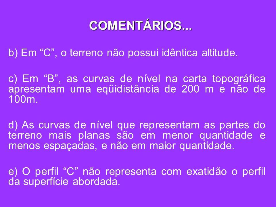 b) Em C, o terreno não possui idêntica altitude. c) Em B, as curvas de nível na carta topográfica apresentam uma eqüidistância de 200 m e não de 100m.
