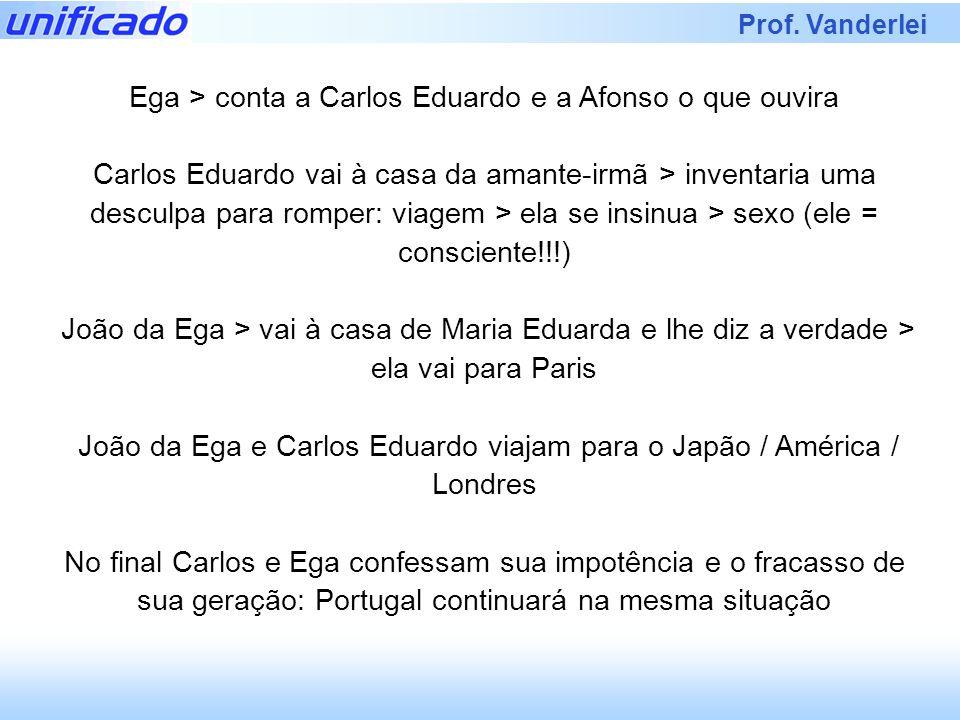 Prof. Vanderlei Ega > conta a Carlos Eduardo e a Afonso o que ouvira Carlos Eduardo vai à casa da amante-irmã > inventaria uma desculpa para romper: v