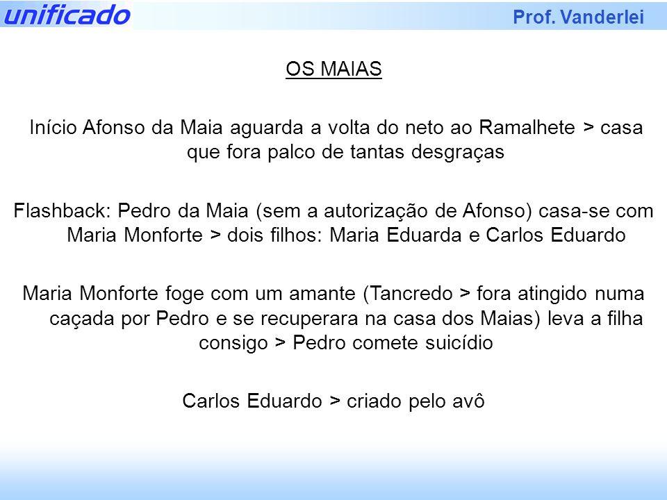 Prof. Vanderlei OS MAIAS Início Afonso da Maia aguarda a volta do neto ao Ramalhete > casa que fora palco de tantas desgraças Flashback: Pedro da Maia