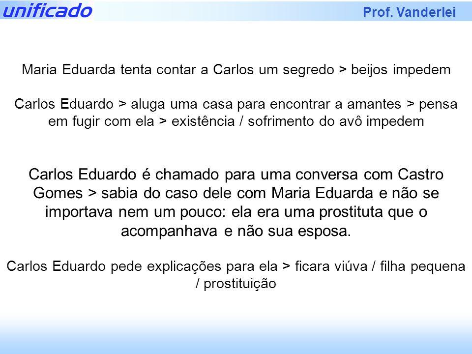 Prof. Vanderlei Maria Eduarda tenta contar a Carlos um segredo > beijos impedem Carlos Eduardo > aluga uma casa para encontrar a amantes > pensa em fu