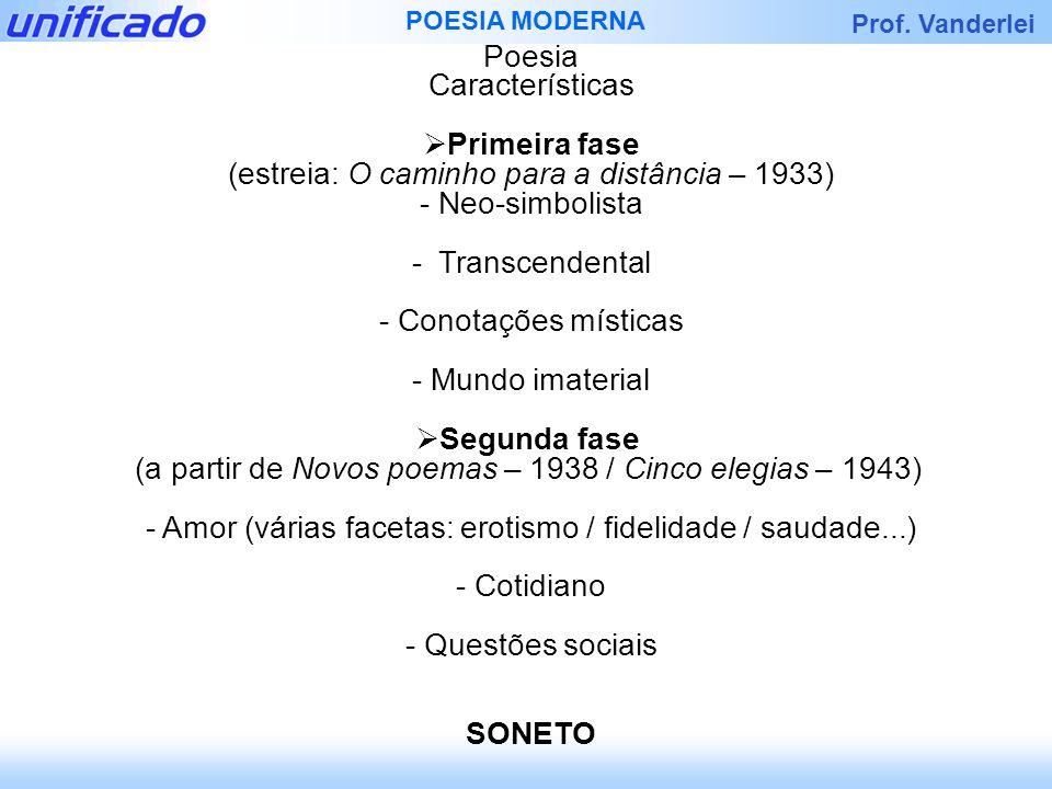 Prof. Vanderlei POESIA MODERNA Poesia Características Primeira fase (estreia: O caminho para a distância – 1933) - Neo-simbolista - Transcendental - C