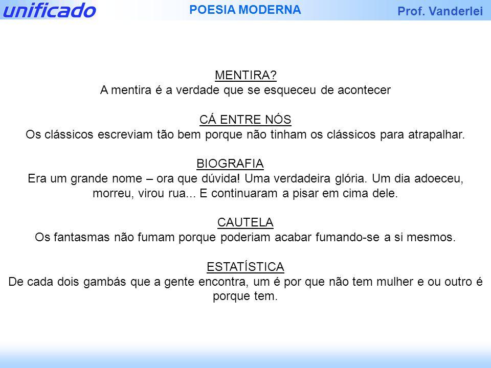 Prof.Vanderlei POESIA MODERNA 1. Minha morte nasceu quando eu nasci.