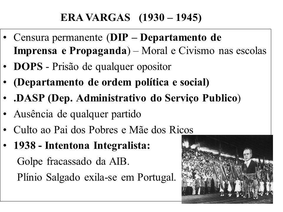 BRASIL REPÚBLICA (1889 – ) Censura permanente (DIP – Departamento de Imprensa e Propaganda) – Moral e Civismo nas escolas DOPS - Prisão de qualquer op