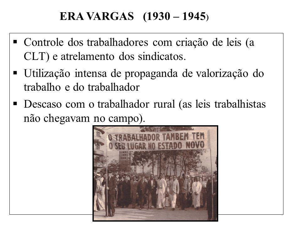 BRASIL REPÚBLICA (1889 – ) Controle dos trabalhadores com criação de leis (a CLT) e atrelamento dos sindicatos. Utilização intensa de propaganda de va