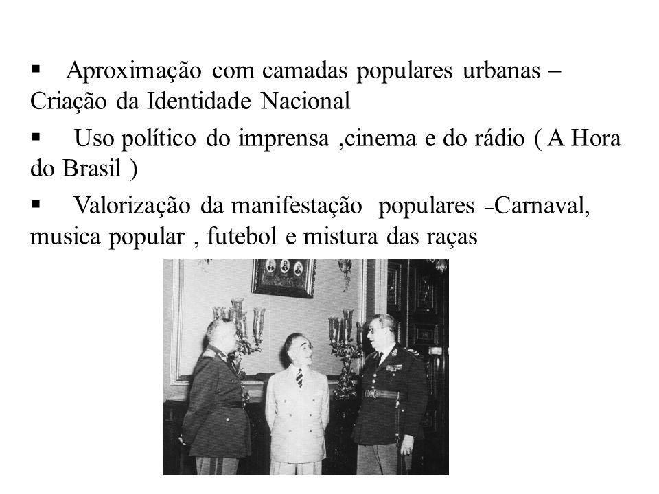 BRASIL REPÚBLICA (1889 – ) Aproximação com camadas populares urbanas – Criação da Identidade Nacional Uso político do imprensa,cinema e do rádio ( A H