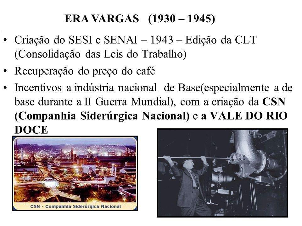 BRASIL REPÚBLICA (1889 – ) Criação do SESI e SENAI – 1943 – Edição da CLT (Consolidação das Leis do Trabalho) Recuperação do preço do café Incentivos