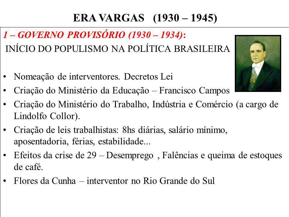 BRASIL REPÚBLICA (1889 – ) 1 – GOVERNO PROVISÓRIO (1930 – 1934): INÍCIO DO POPULISMO NA POLÍTICA BRASILEIRA Nomeação de interventores. Decretos Lei Cr