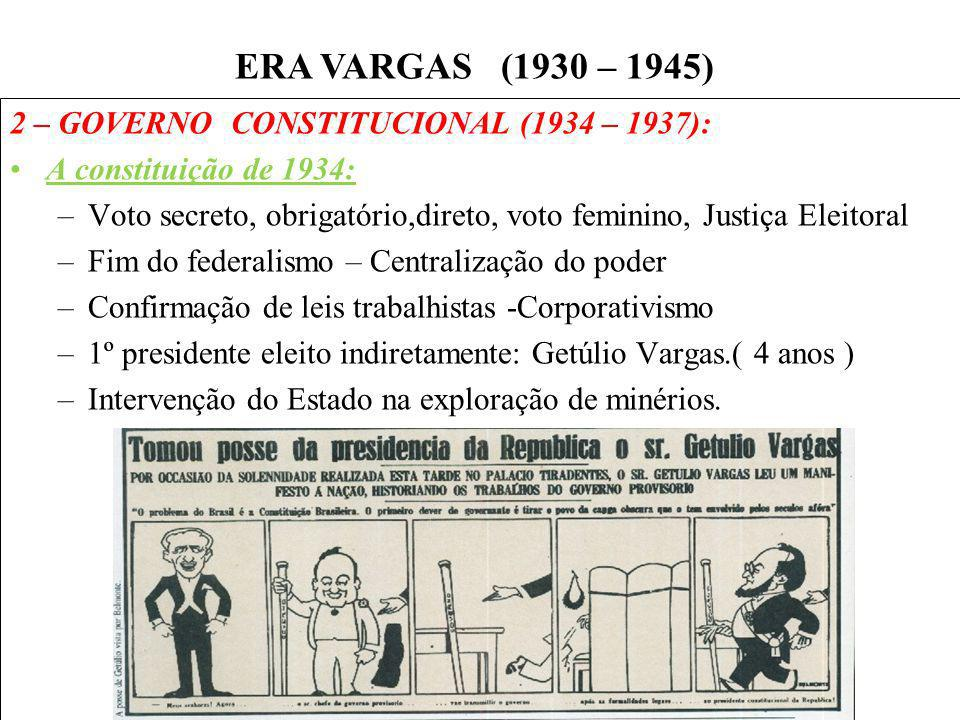 BRASIL REPÚBLICA (1889 – ) 2 – GOVERNO CONSTITUCIONAL (1934 – 1937): A constituição de 1934: –Voto secreto, obrigatório,direto, voto feminino, Justiça