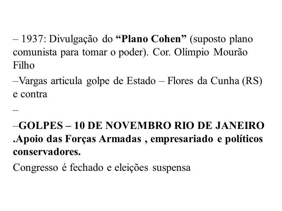 BRASIL REPÚBLICA (1889 – ) – 1937: Divulgação do Plano Cohen (suposto plano comunista para tomar o poder). Cor. Olímpio Mourão Filho –Vargas articula