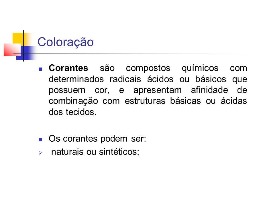 Coloração Corantes são compostos químicos com determinados radicais ácidos ou básicos que possuem cor, e apresentam afinidade de combinação com estrut
