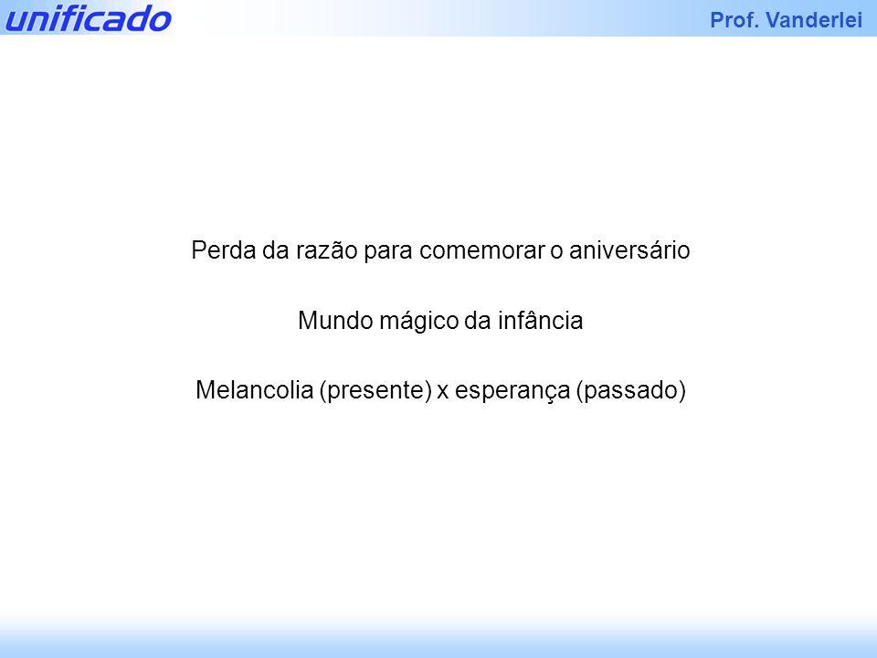 Iracema Prof. Vanderlei Perda da razão para comemorar o aniversário Mundo mágico da infância Melancolia (presente) x esperança (passado)