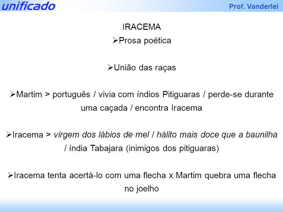 Iracema Prof. Vanderlei IRACEMA Prosa poética União das raças Martim > português / vivia com índios Pitiguaras / perde-se durante uma caçada / encontr