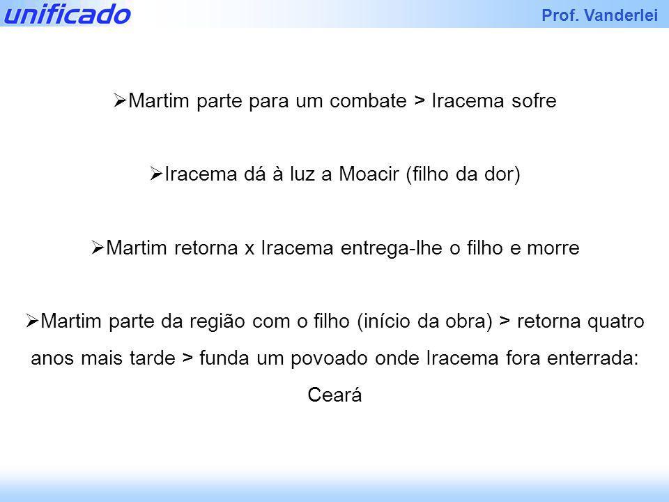 Iracema Prof. Vanderlei Martim parte para um combate > Iracema sofre Iracema dá à luz a Moacir (filho da dor) Martim retorna x Iracema entrega-lhe o f