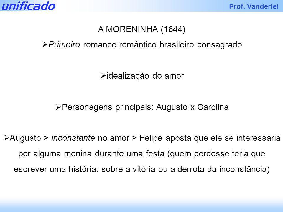 Iracema Prof. Vanderlei A MORENINHA (1844) Primeiro romance romântico brasileiro consagrado idealização do amor Personagens principais: Augusto x Caro