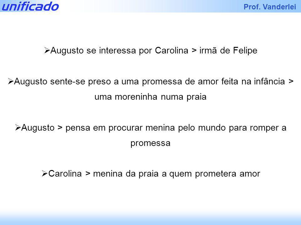 Iracema Prof. Vanderlei Augusto se interessa por Carolina > irmã de Felipe Augusto sente-se preso a uma promessa de amor feita na infância > uma moren