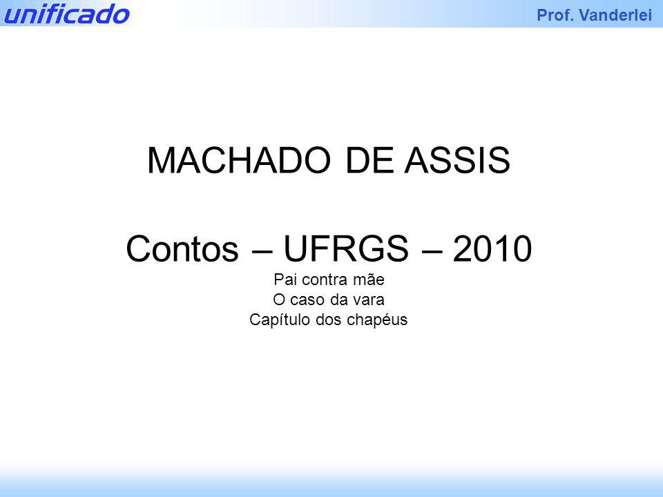 Iracema Prof. Vanderlei MACHADO DE ASSIS Contos – UFRGS – 2010 Pai contra mãe O caso da vara Capítulo dos chapéus
