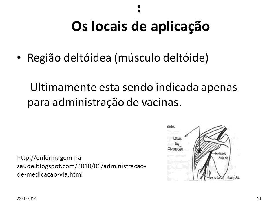 : Os locais de aplicação Região deltóidea (músculo deltóide) Ultimamente esta sendo indicada apenas para administração de vacinas. 22/1/201411 http://
