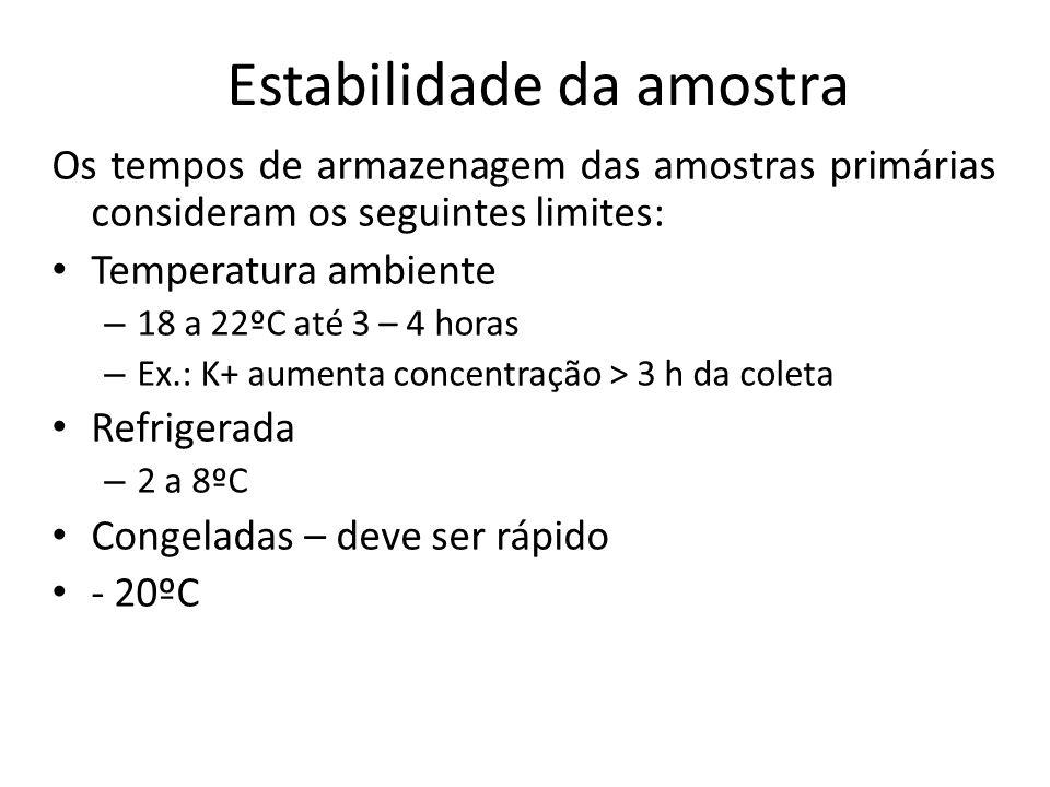 Estabilidade da amostra Os tempos de armazenagem das amostras primárias consideram os seguintes limites: Temperatura ambiente – 18 a 22ºC até 3 – 4 ho