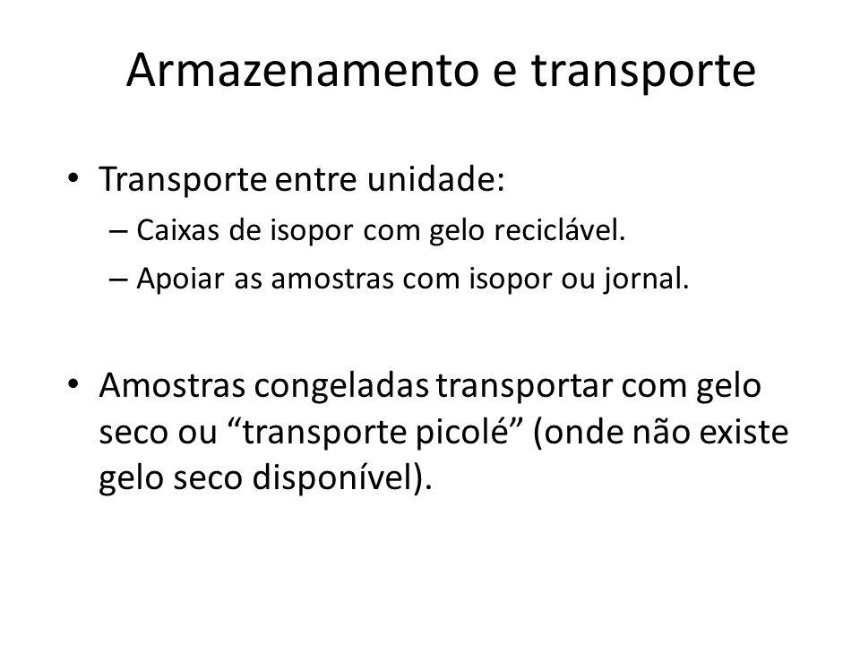 Armazenamento e transporte Transporte entre unidade: – Caixas de isopor com gelo reciclável. – Apoiar as amostras com isopor ou jornal. Amostras conge