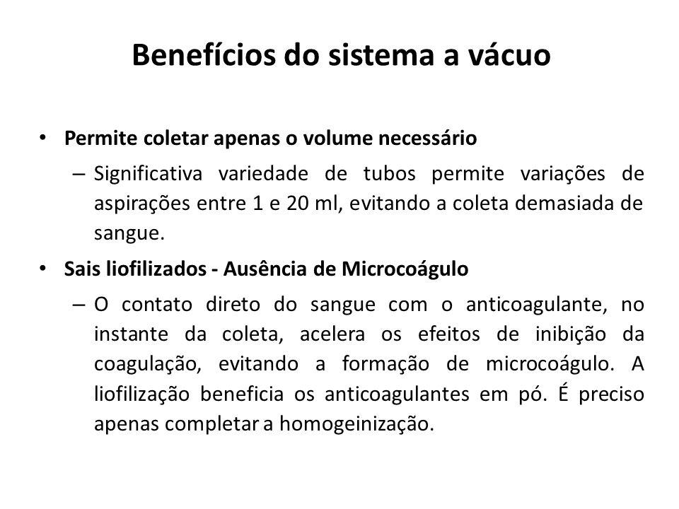 Benefícios do sistema a vácuo Permite coletar apenas o volume necessário – Significativa variedade de tubos permite variações de aspirações entre 1 e
