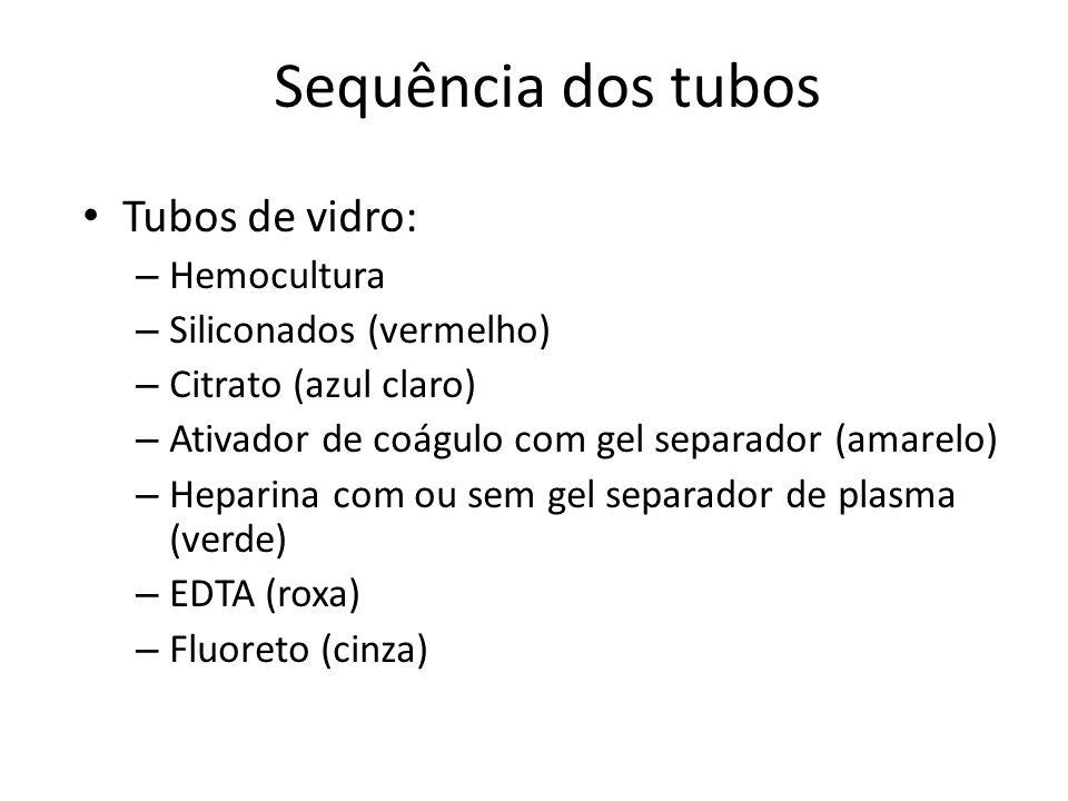 Sequência dos tubos Tubos de vidro: – Hemocultura – Siliconados (vermelho) – Citrato (azul claro) – Ativador de coágulo com gel separador (amarelo) –