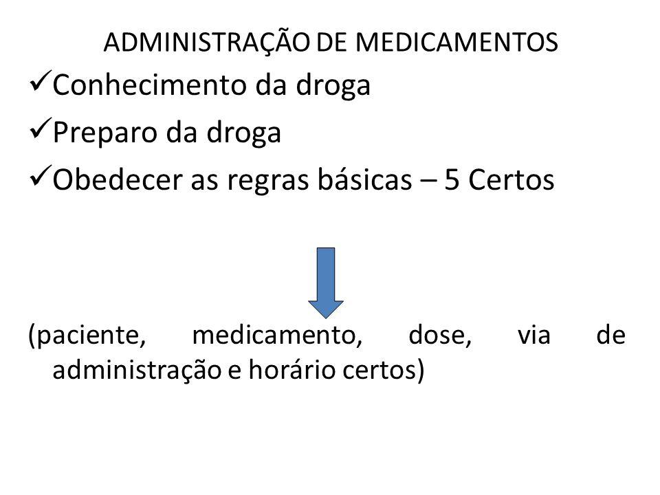 ADMINISTRAÇÃO DE MEDICAMENTOS Conhecimento da droga Preparo da droga Obedecer as regras básicas – 5 Certos (paciente, medicamento, dose, via de admini