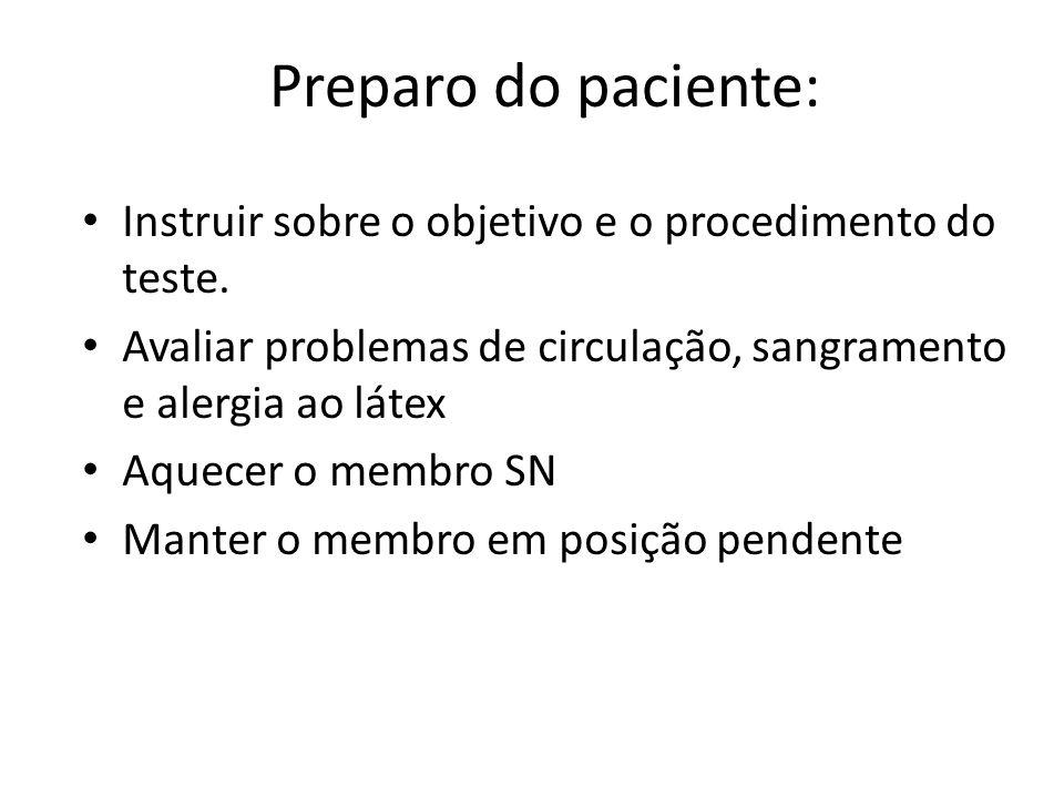 Preparo do paciente: Instruir sobre o objetivo e o procedimento do teste. Avaliar problemas de circulação, sangramento e alergia ao látex Aquecer o me